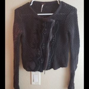FREE PEOPLE XS Crochet Distressed Cropped Cardigan